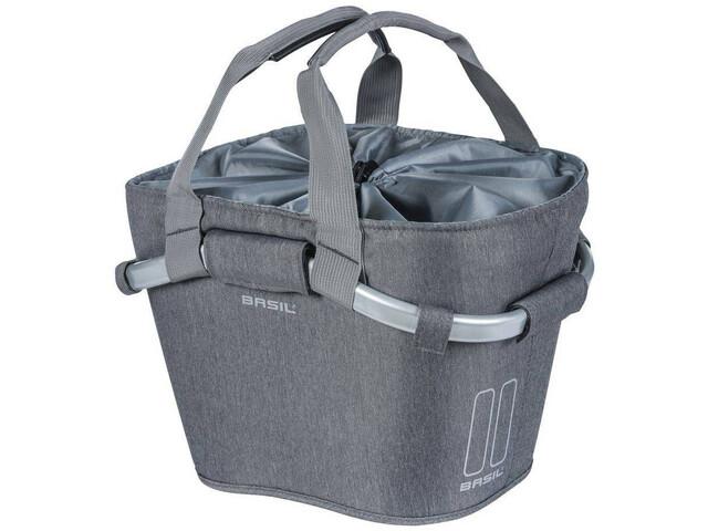 Basil 2Day Front Wheel Basket Bag 15l, with Klickfix adapter plate, grey melee